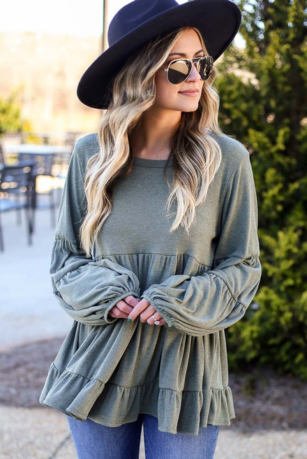 Olive - Ribbed Knit Tiered Babydoll Top