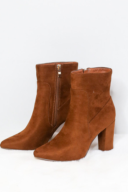 Camel - Block Heel Ankle Booties