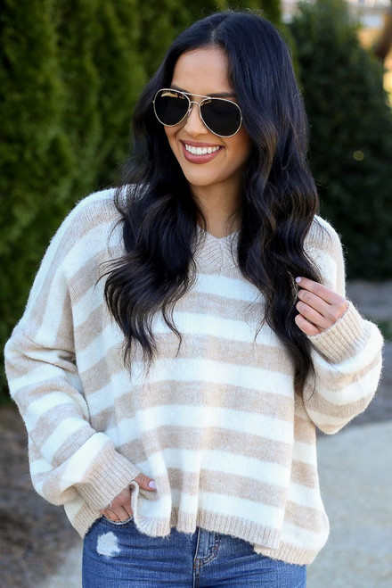 Ivory - Striped Brushed Knit Sweater