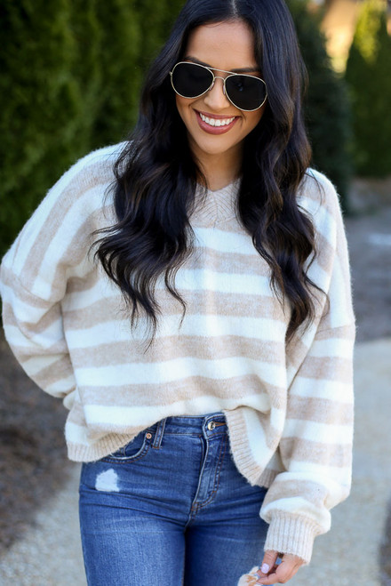 Ivory - Striped Brushed Knit Sweater from Dress Up