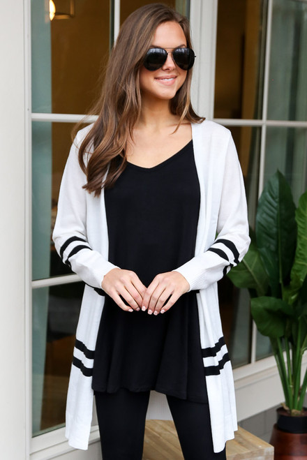 White - Striped Longline Cardigan from Dress Up