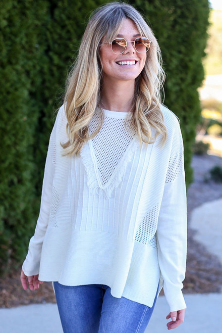 Ivory - Fringe Oversized Knit Sweater