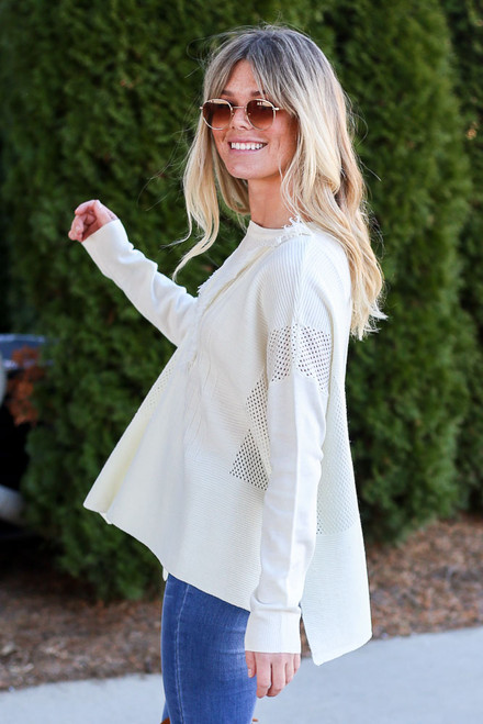 Ivory - Fringe Oversized Knit Sweater Side View