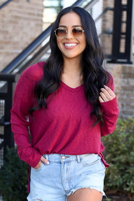 Burgundy - Dress Up model wearing the Ribbed Knit Top