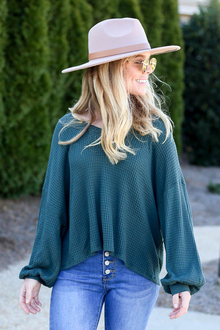 Green - Oversized Waffle Knit V-Neck Top