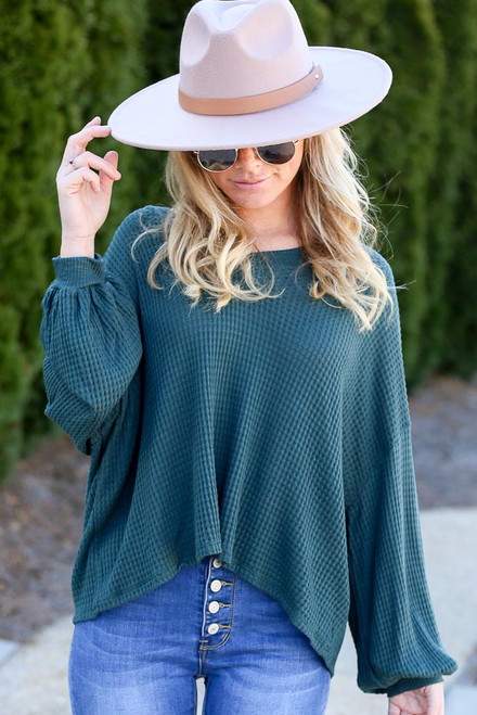 Green - Oversized Waffle Knit V-Neck Top from Dress Up