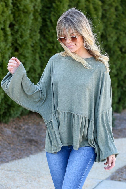 Olive - Balloon Sleeve Oversized Babydoll Top from Dress Up