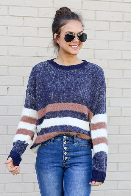 Blue - Striped Eyelash Knit Sweater