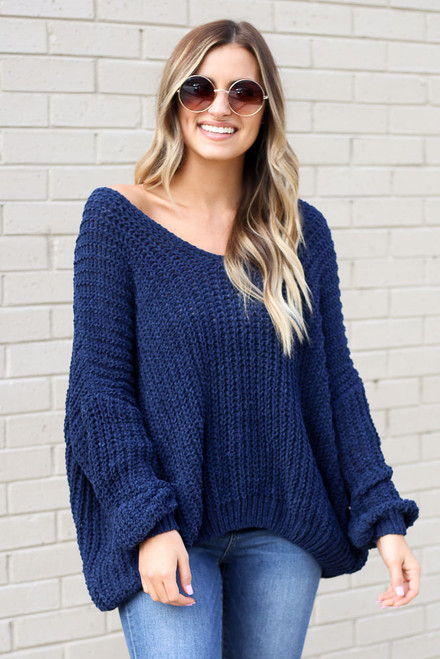 Navy - Model wearing the Oversized Chenille Sweater