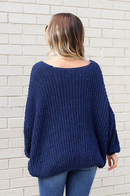 Navy - Oversized Chenille Sweater Back View
