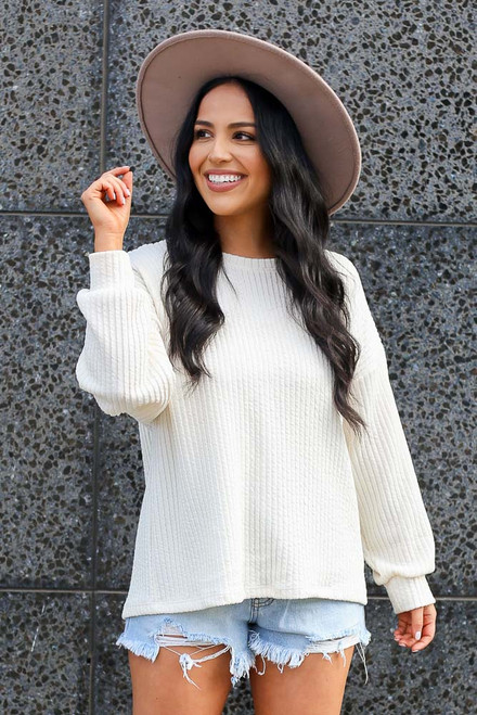 Ivory - Ribbed Knit Oversized Top