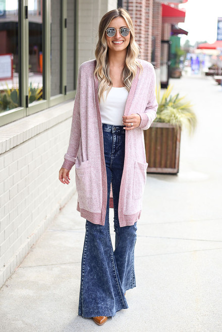 Burgundy - Brushed Knit Longline Cardigan from Dress Up