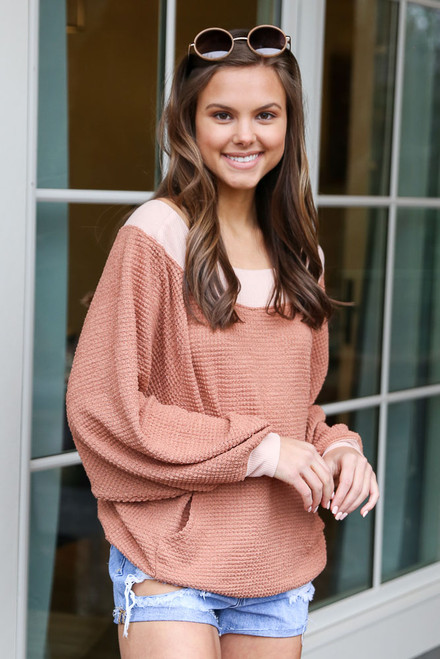Rust - Oversized Waffle Knit Contrast Pullover from Dress Up