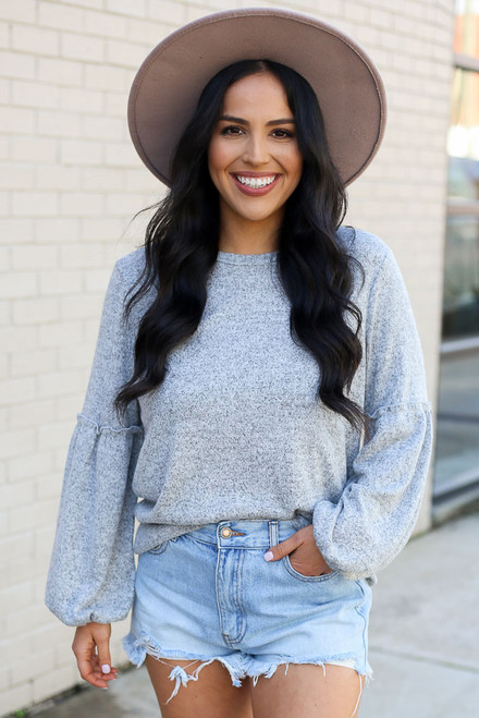 Heather Grey - Brushed Knit Balloon Sleeve Top from Dress Up