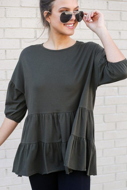 Olive - Tiered Babydoll Top