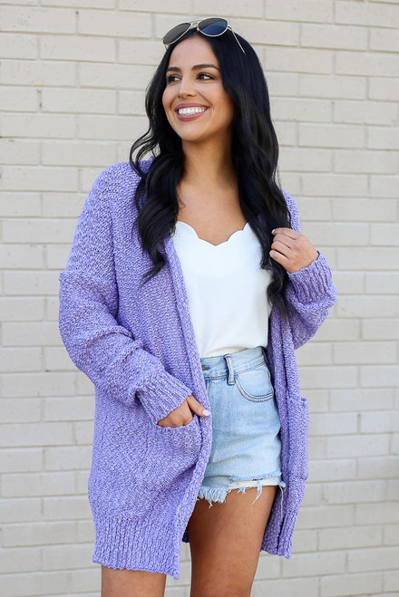 Lilac - Popcorn Knit Sweater Cardigan