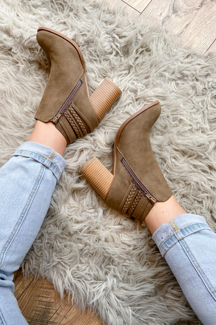 Khaki -  Braided Block Heel Ankle Booties