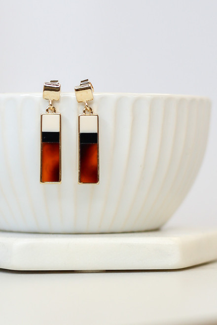 Rust - Bar Drop Earrings