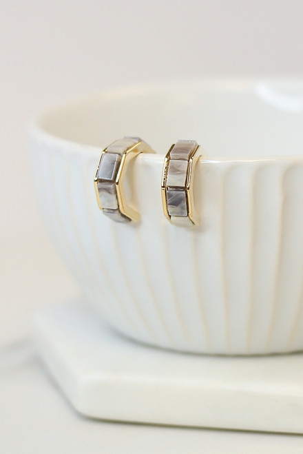 Grey - Geometric Hoop Earrings from Dress Up