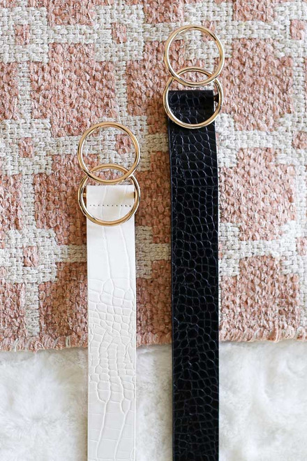 Black - Crocodile Print Double O-Ring Belt