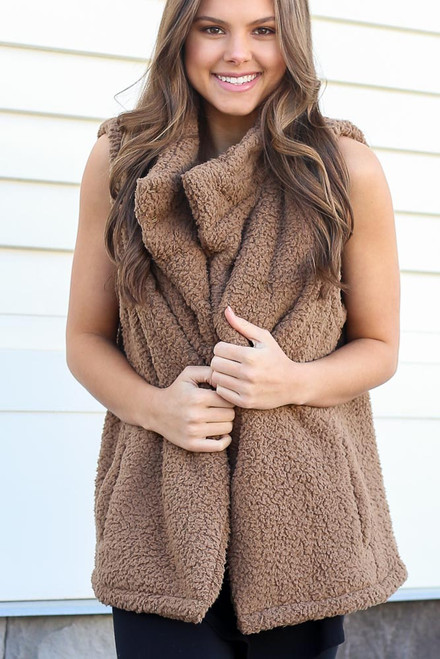 Mocha - Model wearing the Sherpa Vest