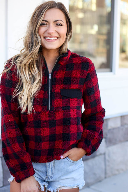 Red - Buffalo Plaid Sherpa Quarter Zip Pullover