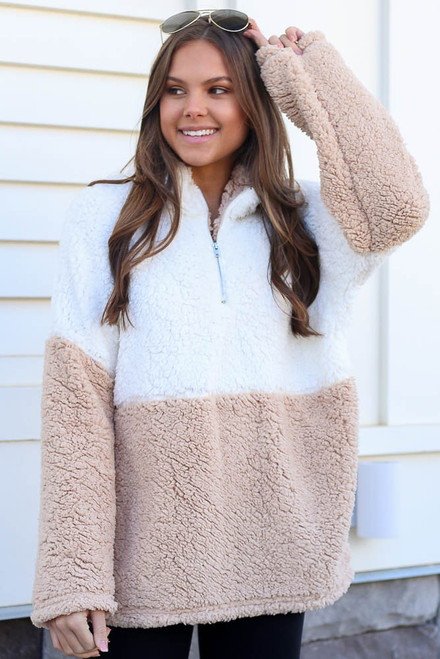 Taupe - Sherpa Quarter Zip Pullover