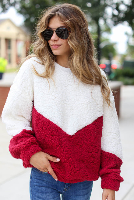 Burgundy - Model wearing the Chevron Stripe Sherpa Pullover