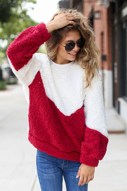 Burgundy - Dress Up model wearing a Chevron Stripe Sherpa Pullover