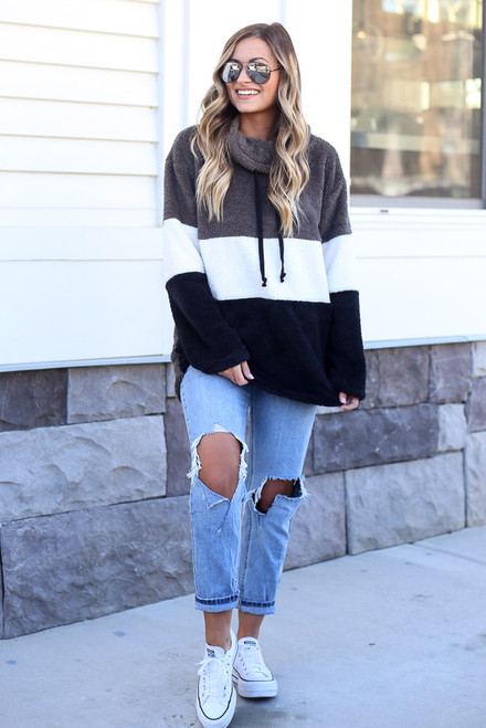Charcoal - Fuzzy Knit Color Block Pullover from Dress Up