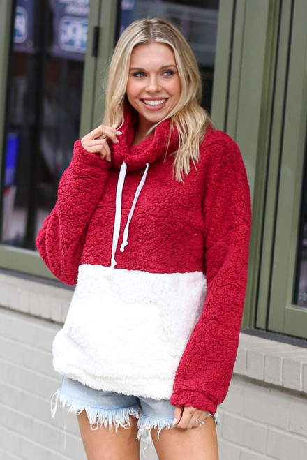Burgundy - Sherpa Cowl Neck Pullover from Dress Up