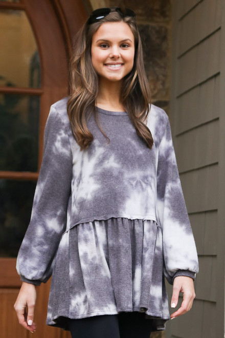 Charcoal - Tie-Dye Brushed Knit Oversized Babydoll Tunic from Dress Up