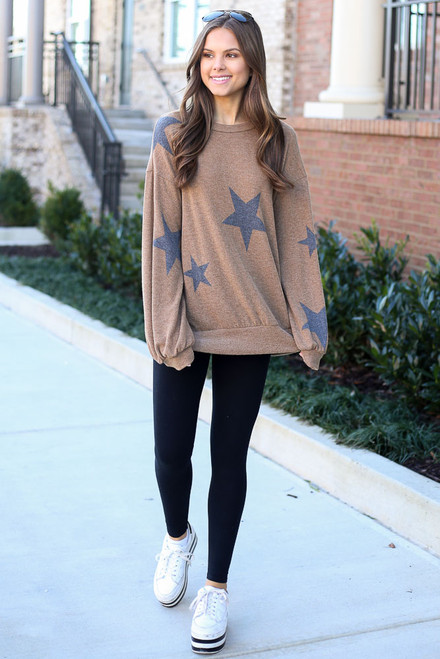 Taupe - Star Brushed Knit Oversized Pullover from Dress Up
