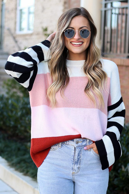 Multi - Oversized Color Block Knit Sweater from Dress Up