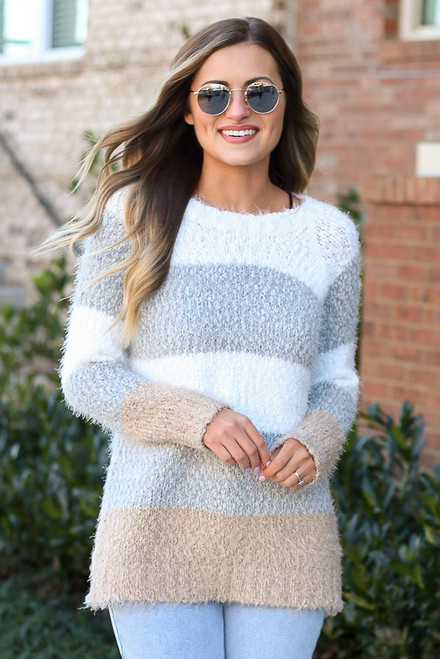 Heather Grey - Popcorn Eyelash Knit Striped Sweater