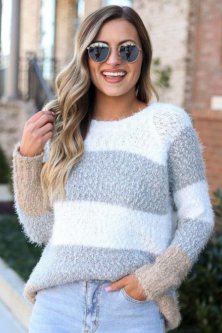 Heather Grey - Popcorn Eyelash Knit Striped Sweater from Dress Up