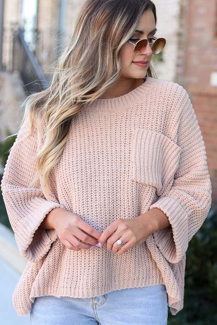 Taupe - Oversized Chenille Sweater Close Up