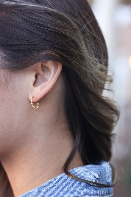 Gold - Ball Textured Mini Hoop Earrings