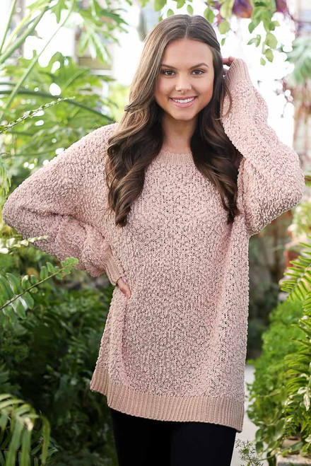 Blush - Popcorn Knit Oversized Top