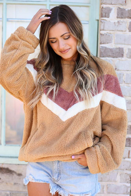 Camel - Chevron Fuzzy Knit Oversized Pullover from Dress Up