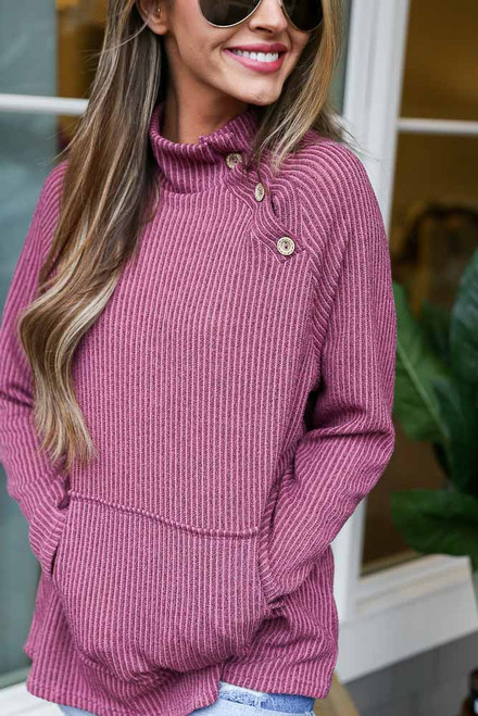 Mauve - Ribbed Asymmetrical Button Up Pullover from Dress Up