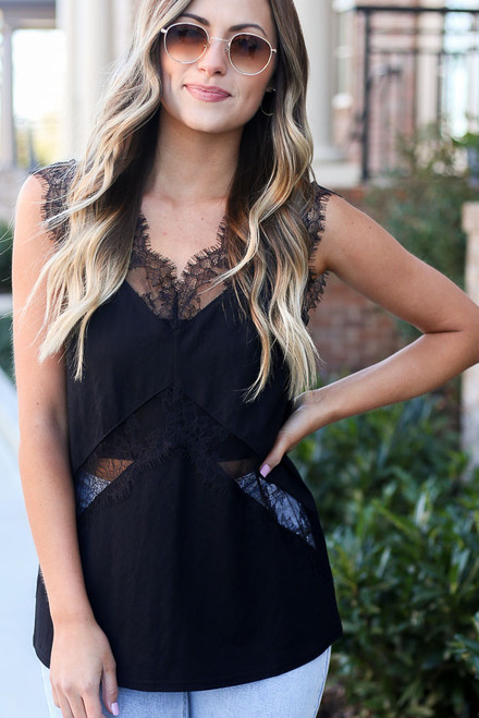 Black - Model wearing the Black Lace Tank from Dress Up with high rise jeans Close Up Front View