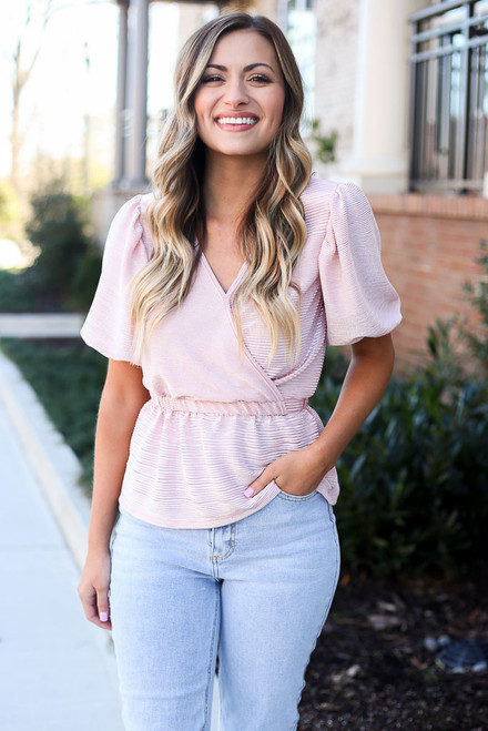 Blush - Puff Sleeve Metallic Blouse from Dress Up