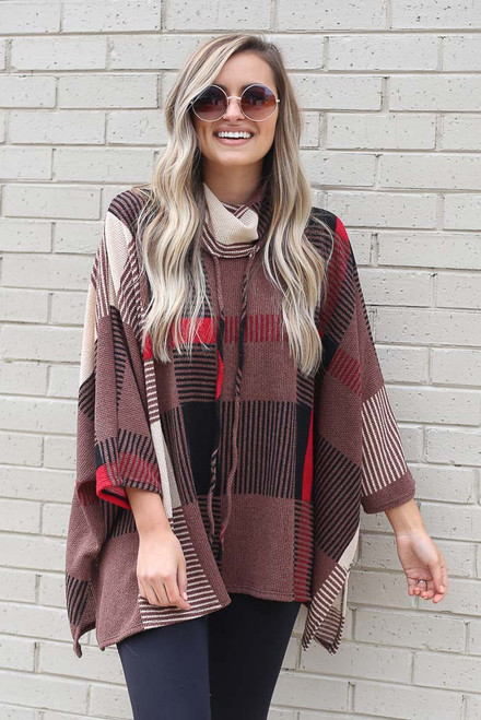 Mocha - Cowl Neck Plaid Oversized Top from Dress Up