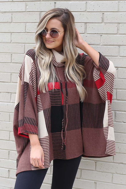 Mocha - Cowl Neck Plaid Oversized Top