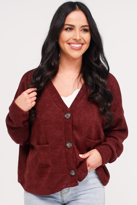 Burgundy - Model wearing the Cropped Cardigan Sweater