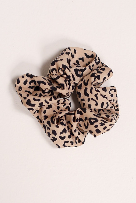 Taupe - Leopard Scrunchie from Dress Up