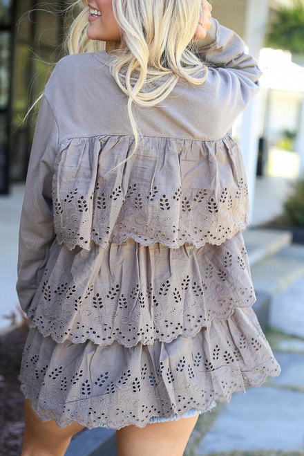 Mocha - Eyelet Ruffle Pullover from Dress Up
