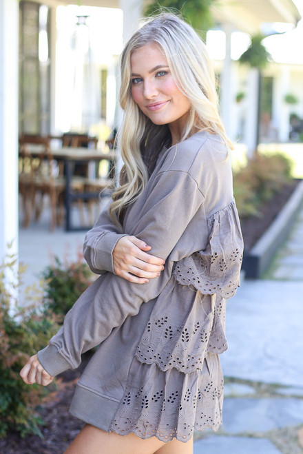 Mocha - Eyelet Ruffle Pullover Side View