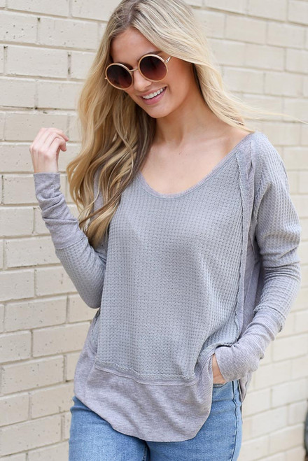 Grey - Contrast Waffle Knit Top from shopdressup